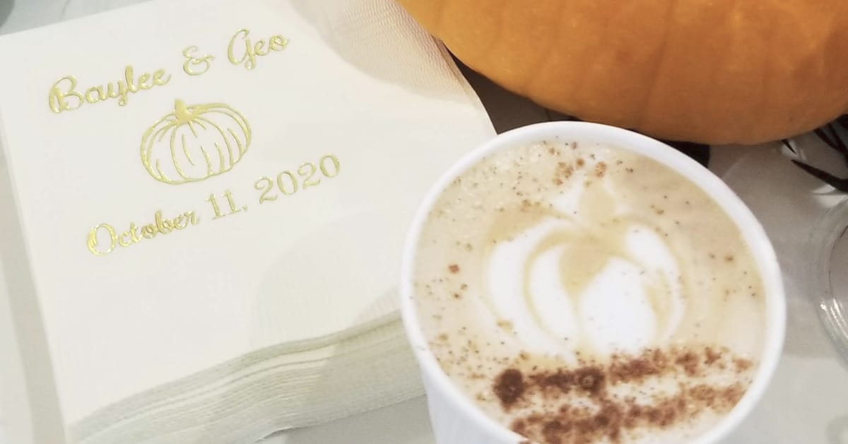 10/11/20 Wedding Coffee Catering | Custom Napkins & Cups | Lattes On Location