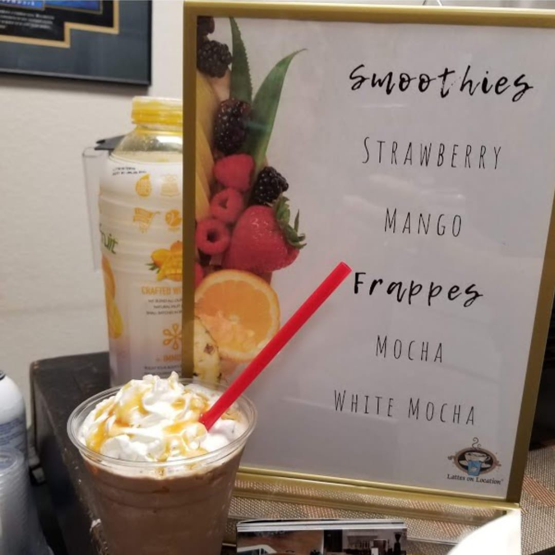 Smoothie & Frappe | Mobile Bar | White Mocha Frappe topped with Caramel